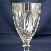 Heisey water goblet etched with flowers and bands