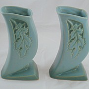 Roseville Silhouette Turquoise Blue Aqua Pottery Oak Leaf motif pair of vases