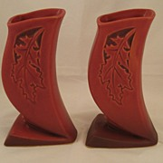 Roseville Silhouette Burgundy Hollyhock Red Pottery Oak Leaf motif pair of vases