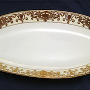 Noritake Christmas Ball Gold & White Celery dish 175 16034