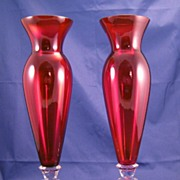 Cambridge Glass Keyhole Crystal & Ruby Carmen Red vase - 2 available