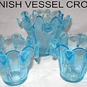 Finnish Vessel Crown Candle Votive and Vase Set � Made by Viking Glass