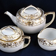Noritake Christmas Ball Gold & White Teapot, Creamer & Sugar set 175 16034