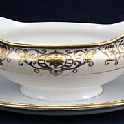 Noritake Christmas Ball Gold & White Gravy Boat with underplate 175 16034