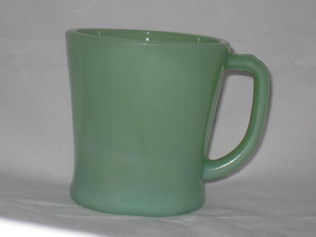 Jadite Green Fireking Glass Mug D Handle - glossy inside and out!