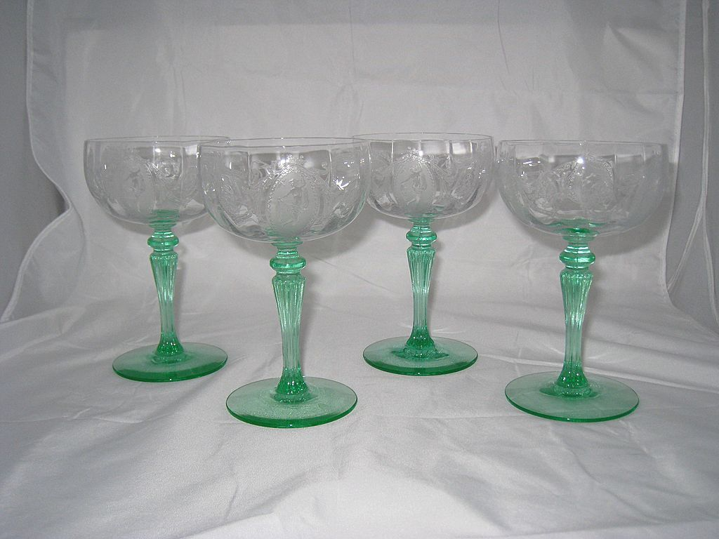 Tiffin Classic Optic Champagne or Sherbet goblets with Green stems - set of 4