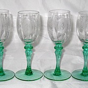 Tiffin Classic Optic Cordial goblets with Green stems - set of 4