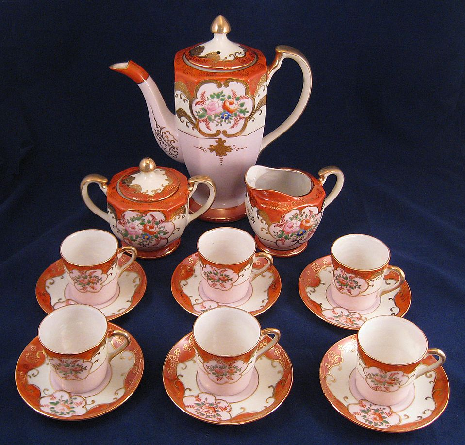 Beautiful Occupied Japan Chocolate Pot & Cups Set Pink floral