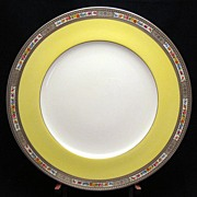 Couldon Cowell & Hubbard 12 dinner plates with yellow band & embossed floral edge - pattern 34