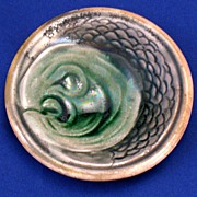 Rare Majolica Green Fish Head butter pat