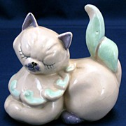 Kay Finch Muff cat figurine - pink & purple & green