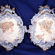 Late 1800's continental Bisque wall plaques -  Josephine & Queen Louise - fabulous baroque det