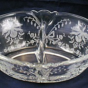 Heisey Glass Orchid Divided Dressing Two Part Bowl