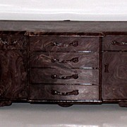 Plasco Doll House Miniature Brown Swirl Low Boy dresser