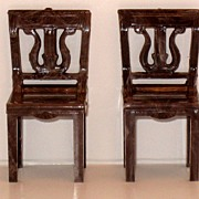 Plasco Doll House Miniature Brown Swirl Chairs D 2 - pair