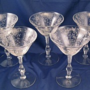 Cambridge Glass Wildflower Etched Champagne / Sherbet Goblets