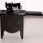 Sewing machine foldout with cabinet for Dollhouse - hard plastic - USA