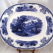 Brown Westhead Moore Cauldon Blue Transferware Sylvan Platter - country side with cows grazing