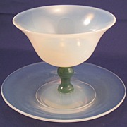 Fry Glass Foval Sherbet Champagne Goblet with Jade Stem & underplate