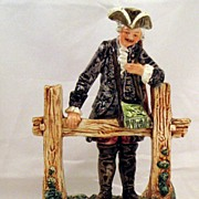 Continental Majolica Figurine -Gentleman Hunter with gun & game bag