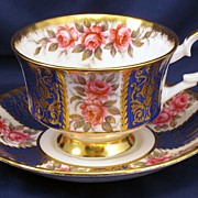 Paragon Gorgeous Pink Roses with Cobalt Blue & Gilt tea cup & saucer