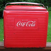 Metal Coca Cola cooler with tray - Buvez Coca Cola - French Canadian