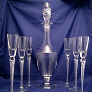 Air Twist Coronation Toasting Glass Goblets & Decanter