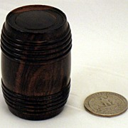 Antique Treen Wood Barrel Traveling inkwell - circa 1850