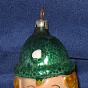Antique Blown Glass Clown Boy head Christmas tree ornament