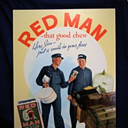Red Man Chew Tobacco Tobacco cardboard advertisement sign - Railroad Baggage Master and Porter