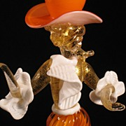 Murano Dancing Cowgirl Western lady figurine orange gold glass