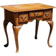 SALE English Queen Ann Burl Wood Small Work Table