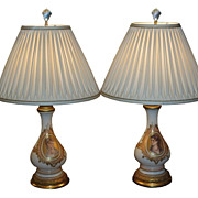 SALE Pair of Antique Baccarat Opaline Glass Portrait Lamps w Hand Smocked Silk Shades