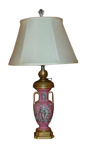 Antique Pink English Porcelain Angel Lamp by Hink & Sons