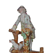 SALE Antique German Porcelain Figure of Dandy w Dog