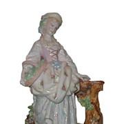 SALE Antique German Porcelain Figure of Lady w Dog