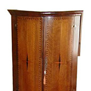 SALE Antique Georgian Inlaid Corner Cabinet w Marquetry Star