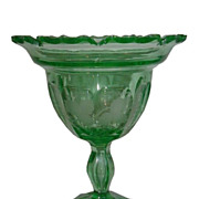 SALE Superb & Unusual Antique Hawkes Green Uranium Glass Compote