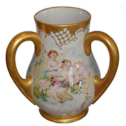 SALE Antique Hand Painted Belleek Loving Cup w Angels