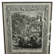 Antique 18th C Engraving Print Of Greek Mythology