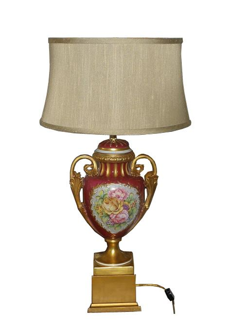 Antique Hand Painted French Porcelain Lamp