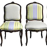 Set of 4 Antique Louis XV Style Chairs with Pierre Frey Upholstery