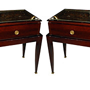 Unusual French Art Deco Night Stands with Mirror Tops