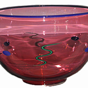 Superb Signed Garcia Studio Cranberry Glass Bowl