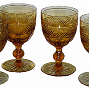 Set of 4 Antique Dorflinger Amber Cut Glass Wine Stems