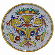 Deruta Italian Majolica Pottery Charger with Dragons
