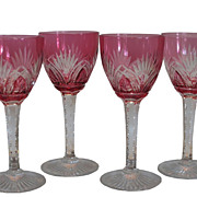 Set of 4 Antique Baccarat Cranberry Cut Crystal Port Wine Stems