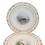 Set of 6 Antique Spode Porcelain Fish & Crab Plates for Tiffany & Co