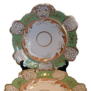 Fabulous Pair of Antique Coalport Green & Gold Porcelain Trays c.1820