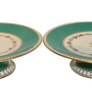 Pair Antique Hand Painted Green Gold Coalport Porcelain Floral Tazza Cake Plates